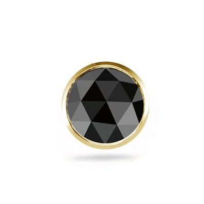 0.43-0.52 Cts Round Rose Cut AA Black Diamond Mens Stud Earring in 14K Yellow Gold by Vogati (Image #3)