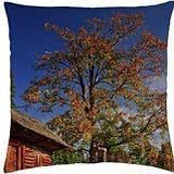 beautiful log cabin in autumn - Throw Pillow Cover Case (18