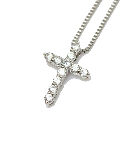 Mini Micro White Gold Cross Charm Pendant With 20 Inch Box Chain Necklace (Mens White Gold Cross Pendant)