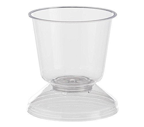 Exquisite Clear Plastic Mini Stemmed Mousse Dessert Cups, Disposable Hard Plastic Tasting Cup With Lid ~ 5 oz ~ (60 Count)