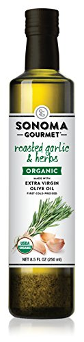 Sonoma Roasted Garlic & Herbs Organic Extra Virgin Olive Oil 8.5 oz (Pack of 3) by Sonoma Gourmet