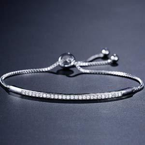 Brilliant Pave Set - Brilliant Pave Adjustable Chain Bracelets   Geometric Shape Bangles for Women Fashion Jewelry (White Gold Plated)