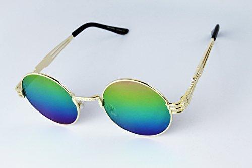E3086-EC Round Celebrity Hipster Steampunk Metal Sunglasses w/case 4