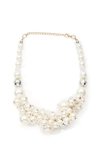 [Pearl Cluster Necklace Choker Chain Lobster Clasp Statement Necklaces For Women (white, yellow)] (Tangled Costume Ideas)
