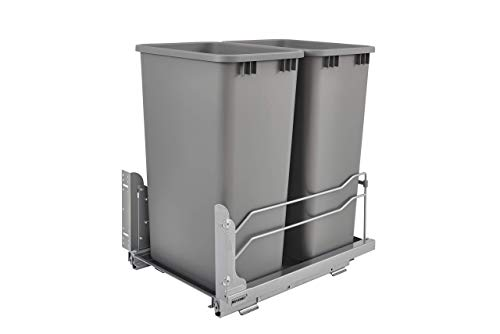 Rev-A-Shelf - 53WC-2150SCDM-217 - Double 50 Qt. Pull-Out Silver Waste Container with Soft-Close Slides (Renewed)