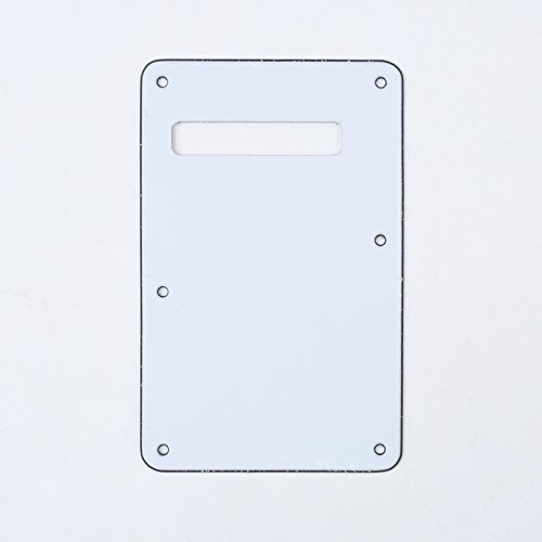 (Musiclily 3Ply Strat Tremolo Cavity Cover Backplate for Fender Stratocaster Modern Style Electric Guitar,White)