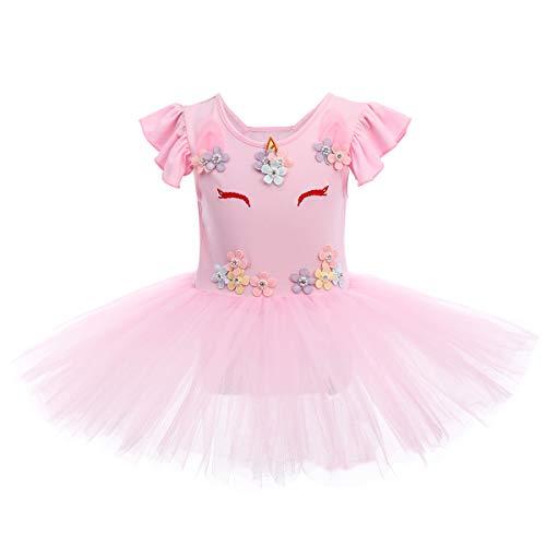 Unicorn Ballet Dress for Girls Ruffle Flutter Sleeves Skirted Ballerina Leotard Kids Princess Pageant Tulle Tutus Little Big Toddler Girl Gymnastics Skating Dancewear Swan Lake Costume Pink 4-5Y