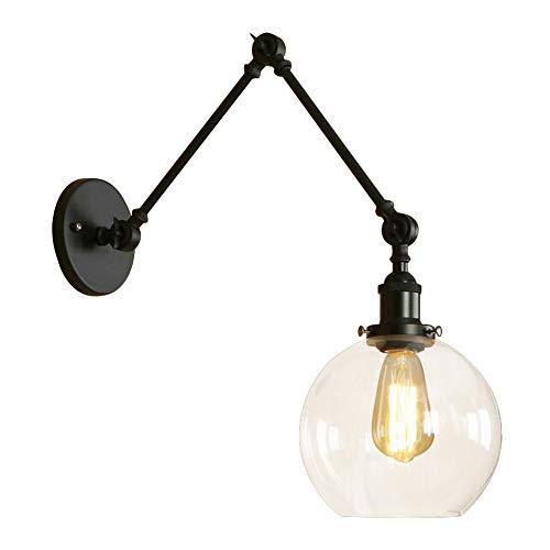 JINGUO Lighting Industrial Adjustable Wall Sconce Lighting Swing Arm Modern Wall Sconce Clear Glass Single Light Wall ()