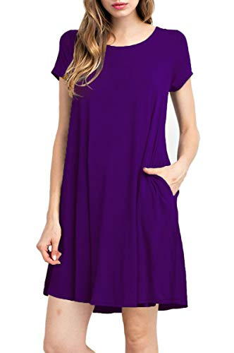 TINYHI Women's Swing Loose Short Sleeve Tshirt Fit Comfy Casual Flowy Tunic Dress,Purple, Small (Purple For Dresses Summer Juniors)