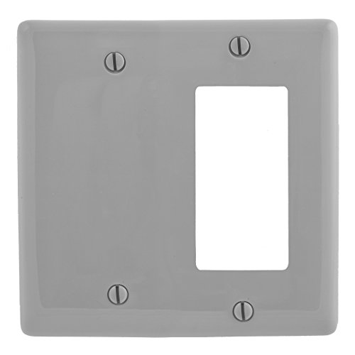 Bryant Electric NP1626GY 2-Gang 1 Decorator/GFCI 1 Blank Wall Plate, Gray