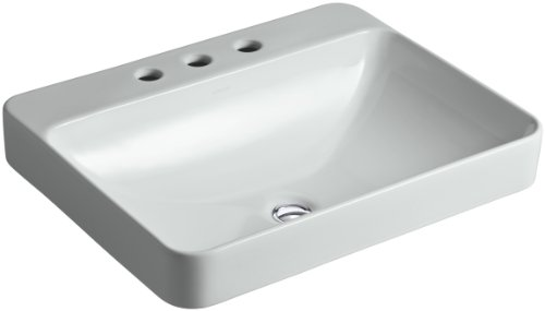 KOHLER K-2660-8-95 Vox Rectangle Vessel Above-Counter Bathroom Sink with 8-Inch Widespread Faucet Holes, Ice Grey 95 Ice Grey Vessels