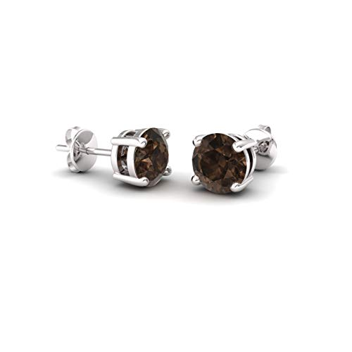 Diamondere Natural and Certified Smoky Quartz Solitaire Stud Earrings in 14K White Gold | 0.90 Carat Earrings for Women