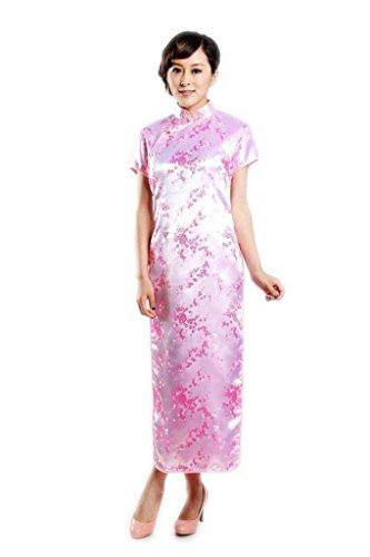 JTC Femme Robe Longue Cheongsam Qipao Chinois Manche Courte Brocart Calycanthe -rose