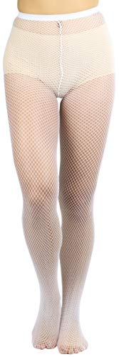 - ToBeInStyle Womens Pack of 6 Nylon Fishnet Pantyhose - White - Queen