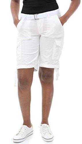 Soho BABE Junior's Basic Twill Cargo Belted Shorts-White-M