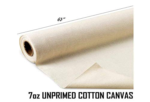 AK Trading 63'' Wide Unprimed Cotton Canvas Fabric 7oz Natural Duck Cloth, x 10 Yards by AK TRADING CO. (Image #2)
