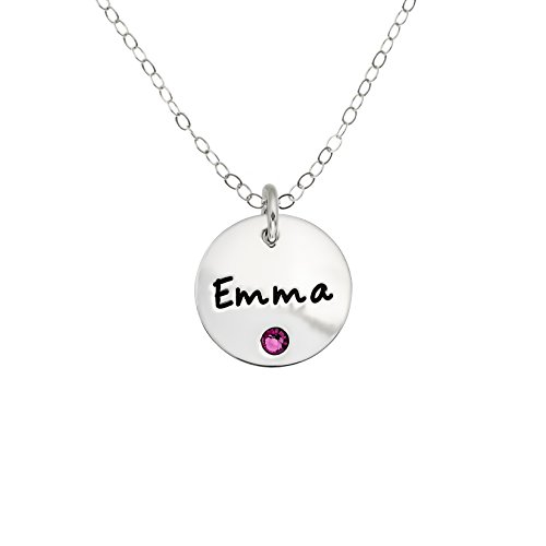 (AJ's Collection Personalized Sterling Silver Round Name Charm Necklace with Choice of Swarovski Birthstone)