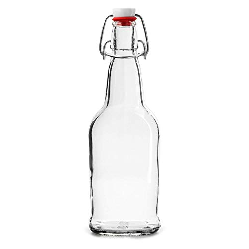 SWING TOP CLEAR GLASS BEER WINE BOTTLES - 6 PIECE SET | FLIP TOP LEAK PROOF BREWING BOTTLES W/ SPILL PROOF EASY RUBBER GASKET CAP AIRTIGHT SEAL STOPPER FOR OIL, BEER, OR WINE BEVERAGE - 16OZ