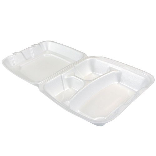 White 3 Compartment Hinged Lid - 8