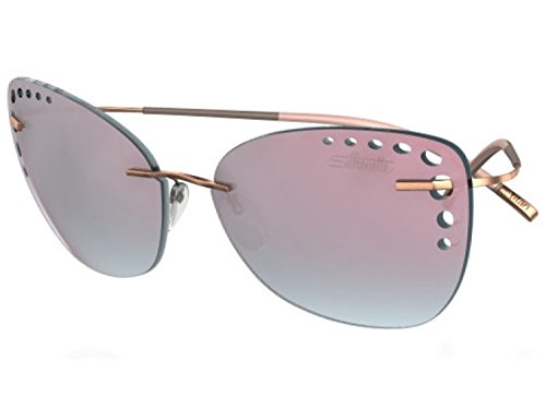Silhouette TMA ICON Sunglasses Titanium Collection Best seller (Rose Gold Silky Matte / Mint-Rose Gradient, one size)