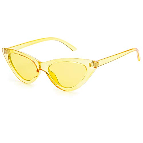 (Livhò Retro Vintage Narrow Cat Eye Sunglasses for Women Clout Goggles Plastic Frame (Clear yellow/yellow))