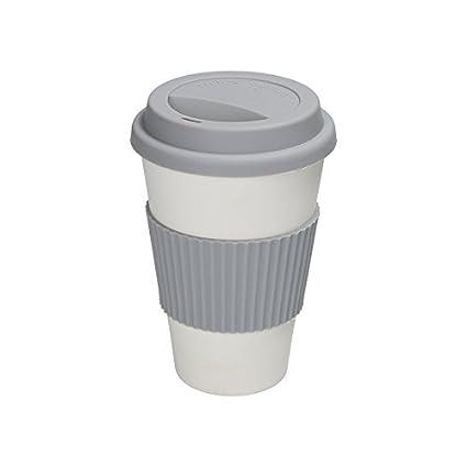 BIOZOYG Tazza da caffè sostenibile da asporto di bambù 375 ml I Caffè to go Tazza bianco naturale con coperchio, manica in silicone arancione I Ecoffee Cup Lavabile in lavastoviglie Senza BPA Bionatic
