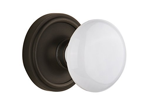 Nostalgic Warehouse Classic Rosette with White Porcelain Knob Complete Passage Set, Oil Rubbed Bronze by Nostalgic Warehouse
