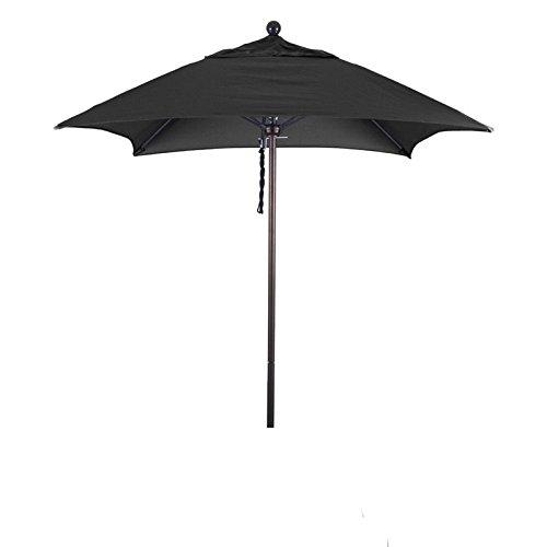California Umbrella Aluminum/Fiberglass Push Open, Bronze Pole and Sunbrella Black Umbrella, 6' Square