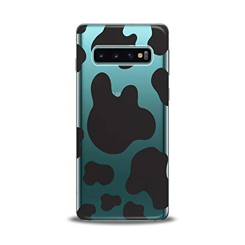 Lex Altern TPU Case for Samsung Galaxy s10 Plus 10e Note 9 s9 s8 s7 2018 Clear Cute Leopard Black Cover Print Protective Animal Cow Design Flexible Girl Women Silicone Felines Abstract Simple Trend (Leopard Cover Black)
