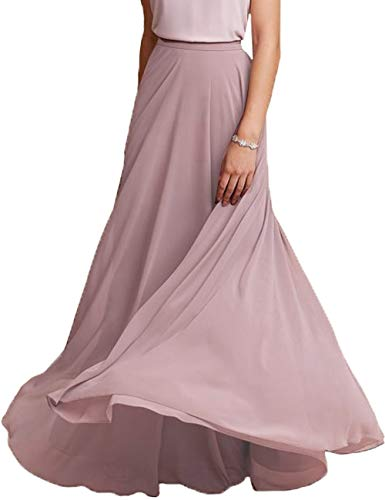 Honey Qiao Maxi Chiffon Skirts Elastic High Waist Skirt with Pleats for Women