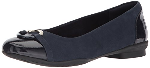 CLARKS Women's Neenah Vine Ballet Flat, Navy New Black/NVY Patent lthr Combi, 8 Medium US