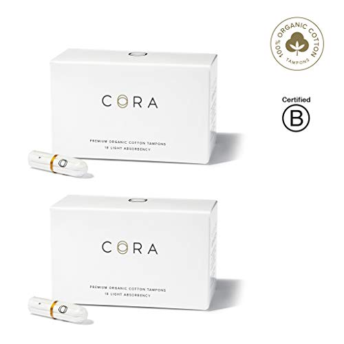Cora Organic Cotton Non-Applicator Tampons; Chlorine & Toxin Free - Light (36 Count) ()