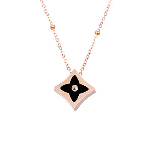 (Stainless Steel Jewelry Accessories Sets Clover Pendant Necklace Silver Stud Earrings for Women Gold Chain Choker Earing,Rose gold3)