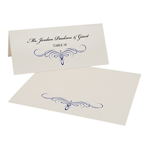 Decadent Flourish Place Cards, Champagne, Navy, Set of 400 by Documents and Designs