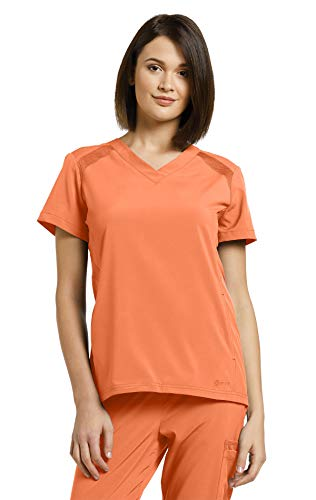 (Fit by White Cross Women's V-Neck Solid Scrub Top Medium Sunset)