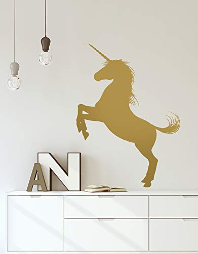 Unicorn Wall Decal Sticker. Gold Color, Large 45in Tall X 33in Wide. Fantasy Silhouette Design for Girl's Bedroom Decor. #6108m-45x33-GOLD-Rev. Facing Left