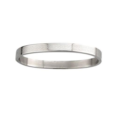 Tara Celtic Knot Bangle Stainless Steel Engraved Irish Made -