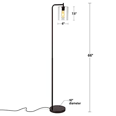 Brightech Elizabeth - Bedroom & Living Room LED Floor Lamp - Standing Industrial Light with Hanging Glass Lamp Shade - Tall Pole Downlight for Office - with LED Bulb - Oil Brushed Bronze
