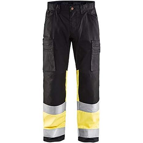 Blakläder 155118119933 C60 HIGH-VIS pantalón tamaño elástico, negro/amarillo, C60: Amazon.es: Bricolaje y herramientas