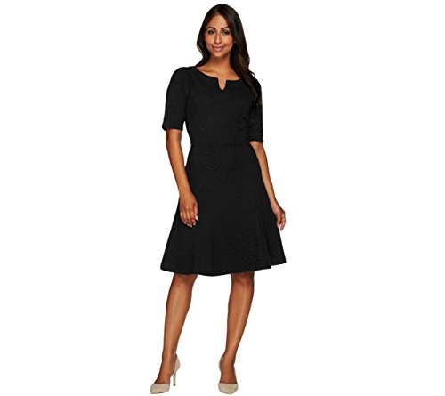 Liz Claiborne NY Knit Ottoman Dress Elbow Slvs A268675, Black, 12