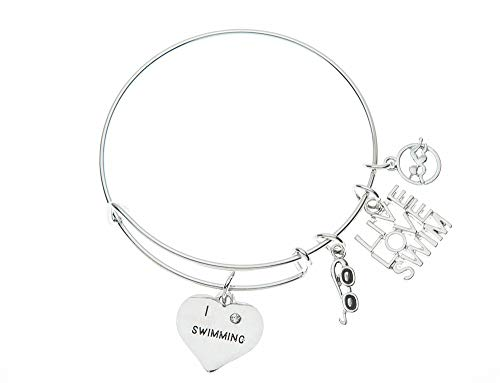Infinity Collection Swim Bangle Bracelet- Girls Swimming Bracelet- Swim Jewelry Swimmers ()