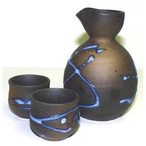 Miya Blue Splatter Sake Set - E64 Miya Company