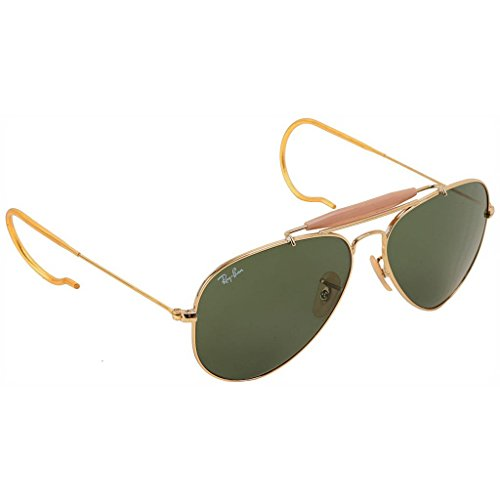 Ray Ban RB3030 L0216 58 Arista/Crystal Green Outdoorsman Bundle - 2 Items