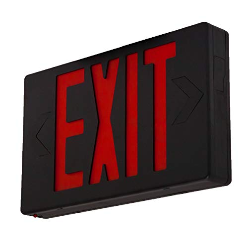LFI Lights - UL Certified - Hardwired Red LED Exit Light - Black Housing - Battery Backup Sign - LEDR3B