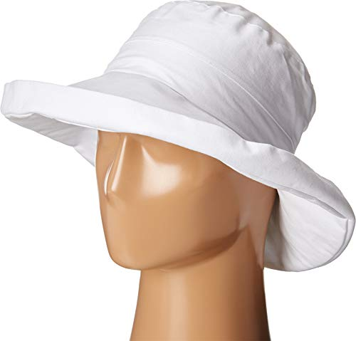 y Women's Linen Fabric with Kettle Brim and Adjustabel Rope Closure, White, One Size ()