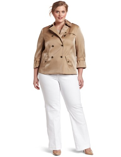 AK Anne Klein Women's Plus-Size Luster Cloth Trench Coat