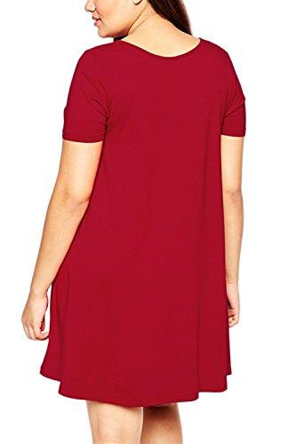 De manga corta solo Breasted de la mujer Swing una línea de vestido de tallas grandes Red