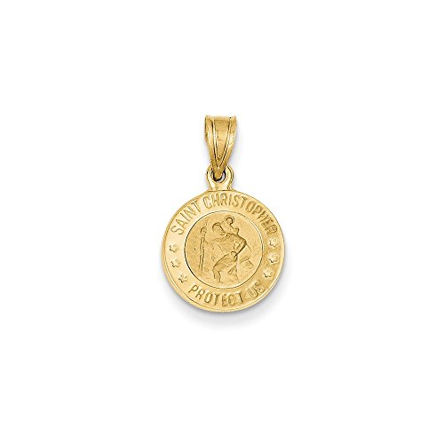 14k Yellow Gold Saint Christopher Protect Us Words On Round Charm 20x12mm