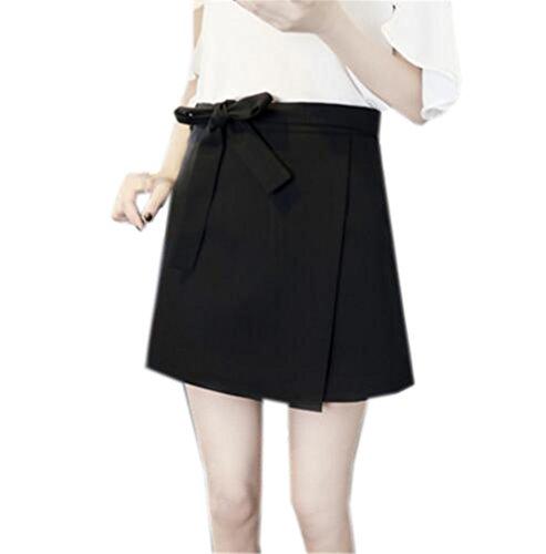 Aoliait Femme Jupe A-Line Amincissante Jupe Court Couleur Unie Femelle Jupe en t Grande Taille Jupe Mini Taille Haute Jupe Black3