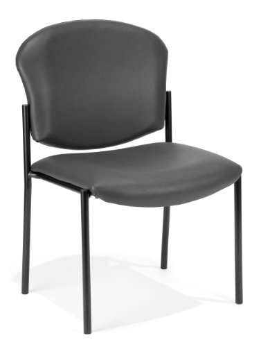 OFM 408-VAM-604 Armless Stack Vinyl Chair, Charcoal